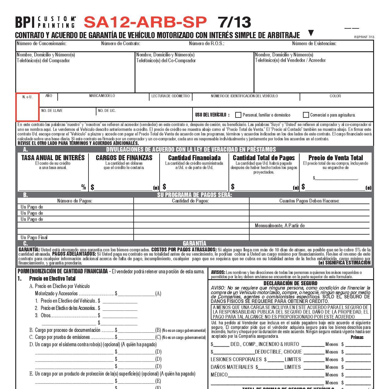 501D Vehicle Purchase Order - BPI Custom Printing