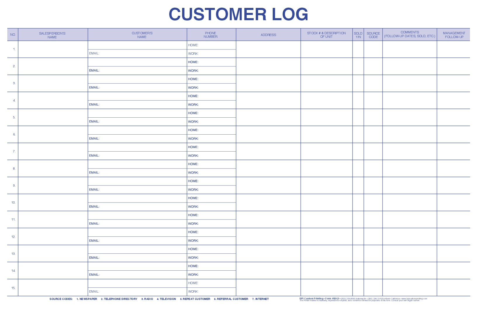 Customer Log Bpi Custom Printing
