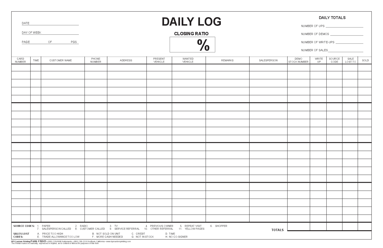 Closing ratio daily log bpi dealer supplies for Daily work record template