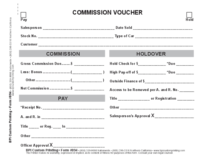 Commission Voucher 3 Part Bpi Dealer Supplies