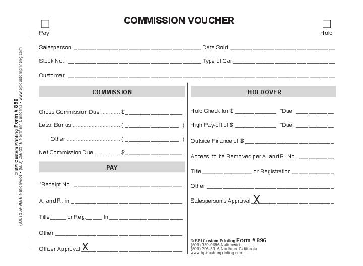 Mission Voucher 4 Part BPI Dealer Supplies