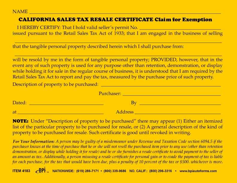 california sales tax resale certificate bpi dealer supplies. Black Bedroom Furniture Sets. Home Design Ideas