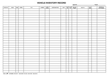 vehicle record inventory book bpi dealer supplies