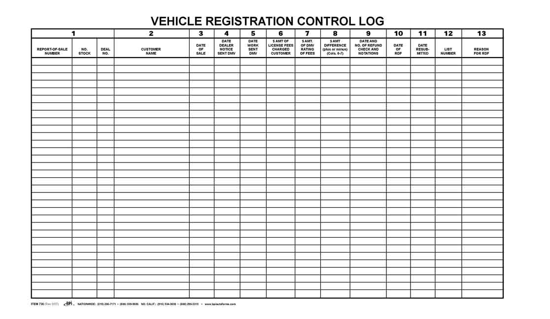Auto Appraisal Form >> Vehicle Registration Control Log Book - BPI Dealer Supplies