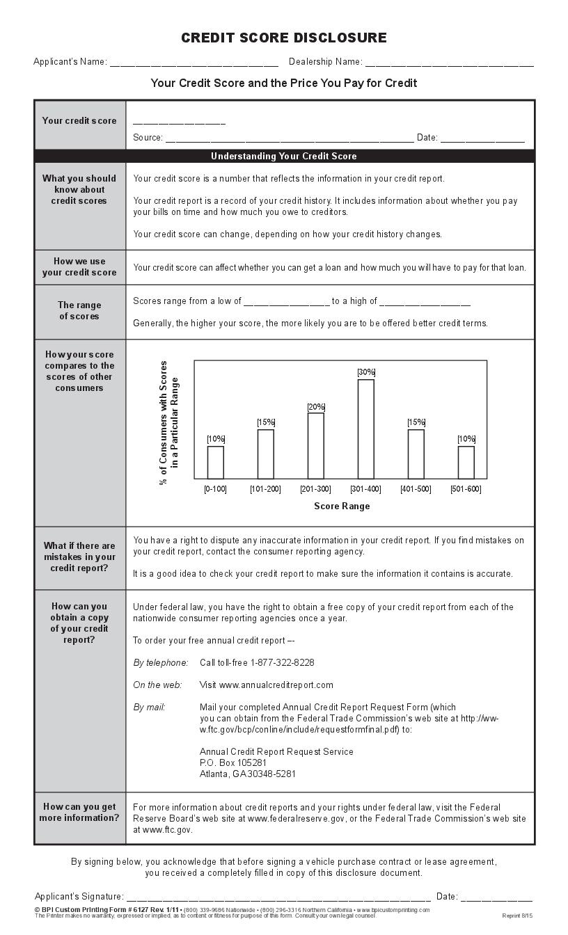 credit score disclosure