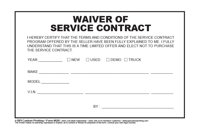 Waiver of Service Contract BPI Custom Printing – Service Contract