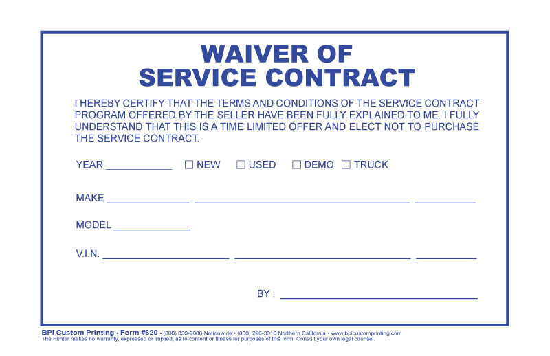 Waiver Of Service Contract Bpi Dealer Supplies