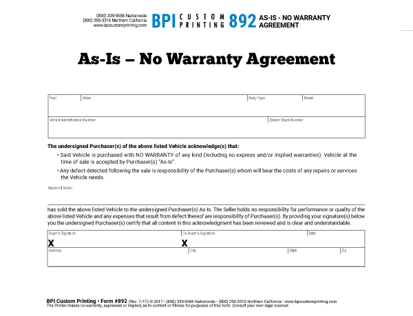 As is no warranty agreement bpi dealer supplies for Private party car sale contract template