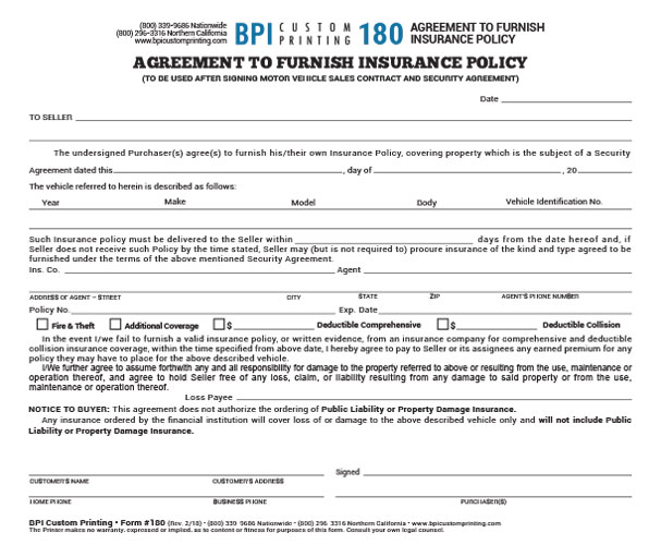 Out of state agreement to furnish insurance bpi dealer supplies platinumwayz