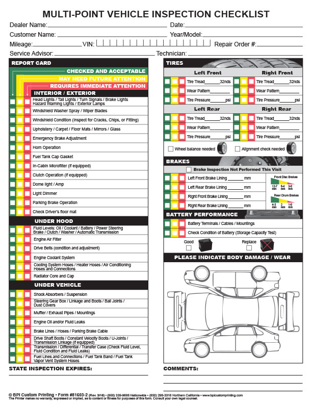 Multi Point Inspection Checklist Bpi Dealer Supplies