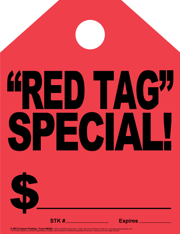 Fluorescent Red Mirror Tags Bpi Custom Printing