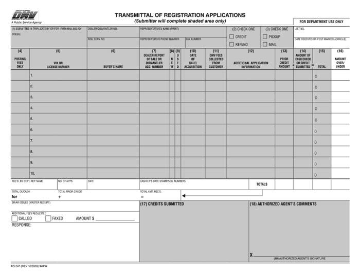 Transmittal Of Registration Applications Bpi Dealer Supplies
